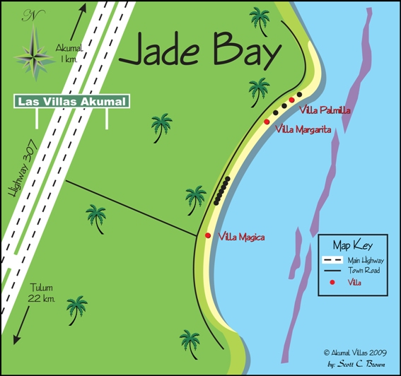 Jade Bay Map :: Akumal Villas Luxury Vacation Rentals in Akumal Mexico
