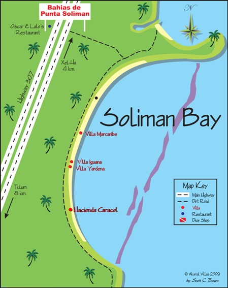 Soliman Bay Map Akumal Villas Luxury Vacation Rentals in Akumal Mexico
